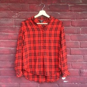 Lord & Taylor Red Plaid Top
